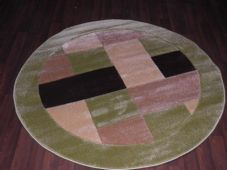 MODERN 140X140CM CIRCLE RUGS WOVEN BACK HAND CARVED BLOCKS RANGE GREEN/BEIGES